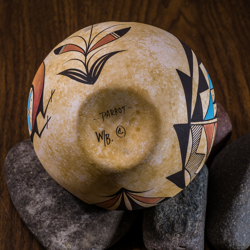 Acoma Pottery by Westly Begaye - Parrot