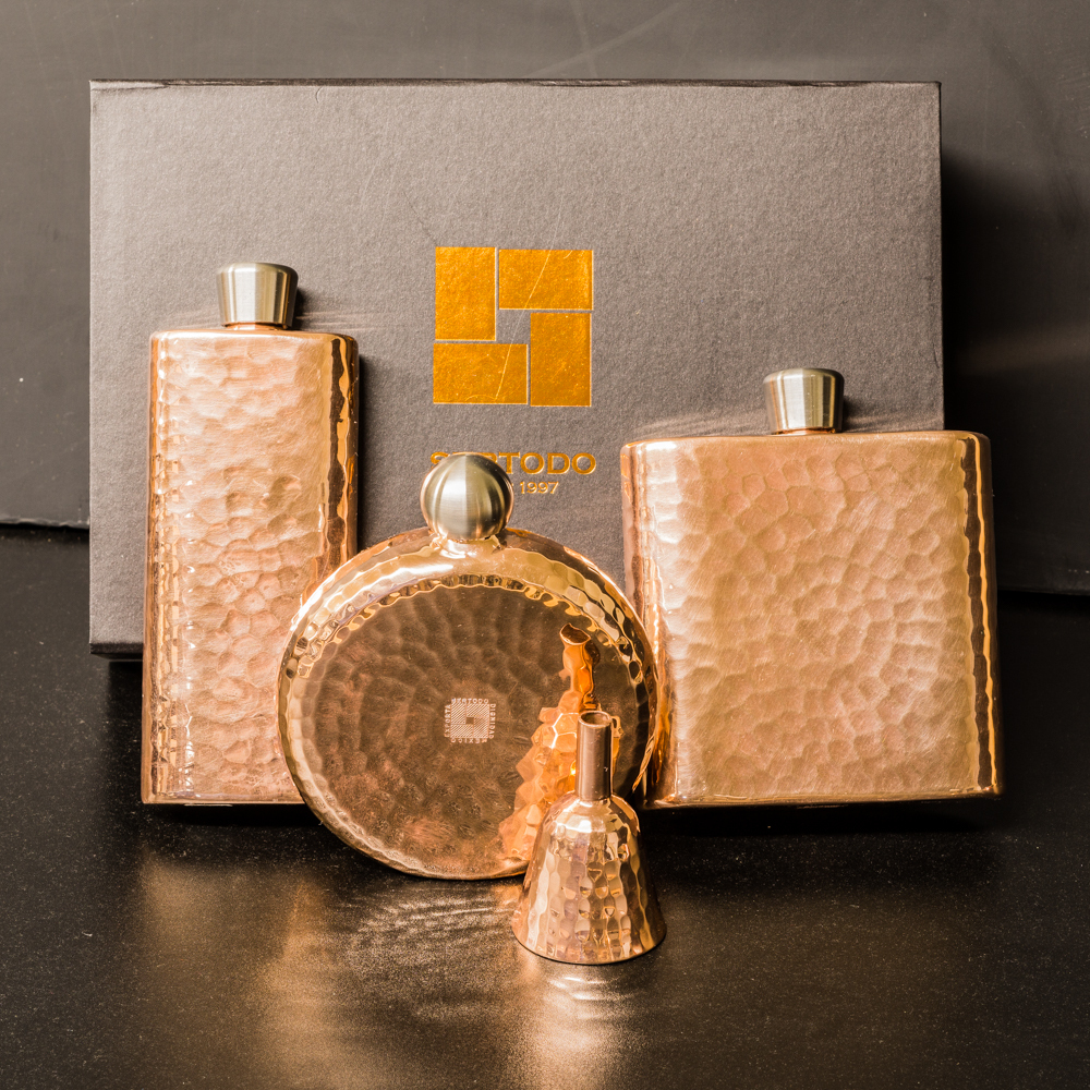 Copper Flask with Spout - Round GA200026