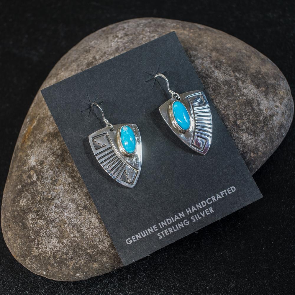 Sleeping Beauty Turquoise Earrings by EM Teller SB200036