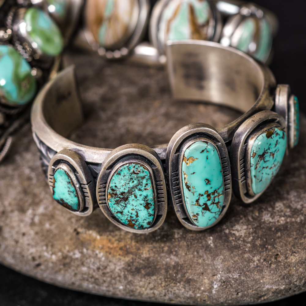 Pilot Mountain Turquoise Bracelet by Jimmy Secatero JE200111
