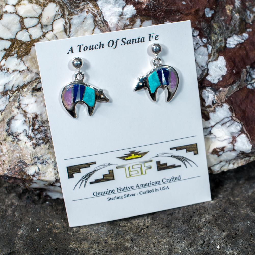Touch of Santa Fe Multi-Stone Bear Earrings JE200116