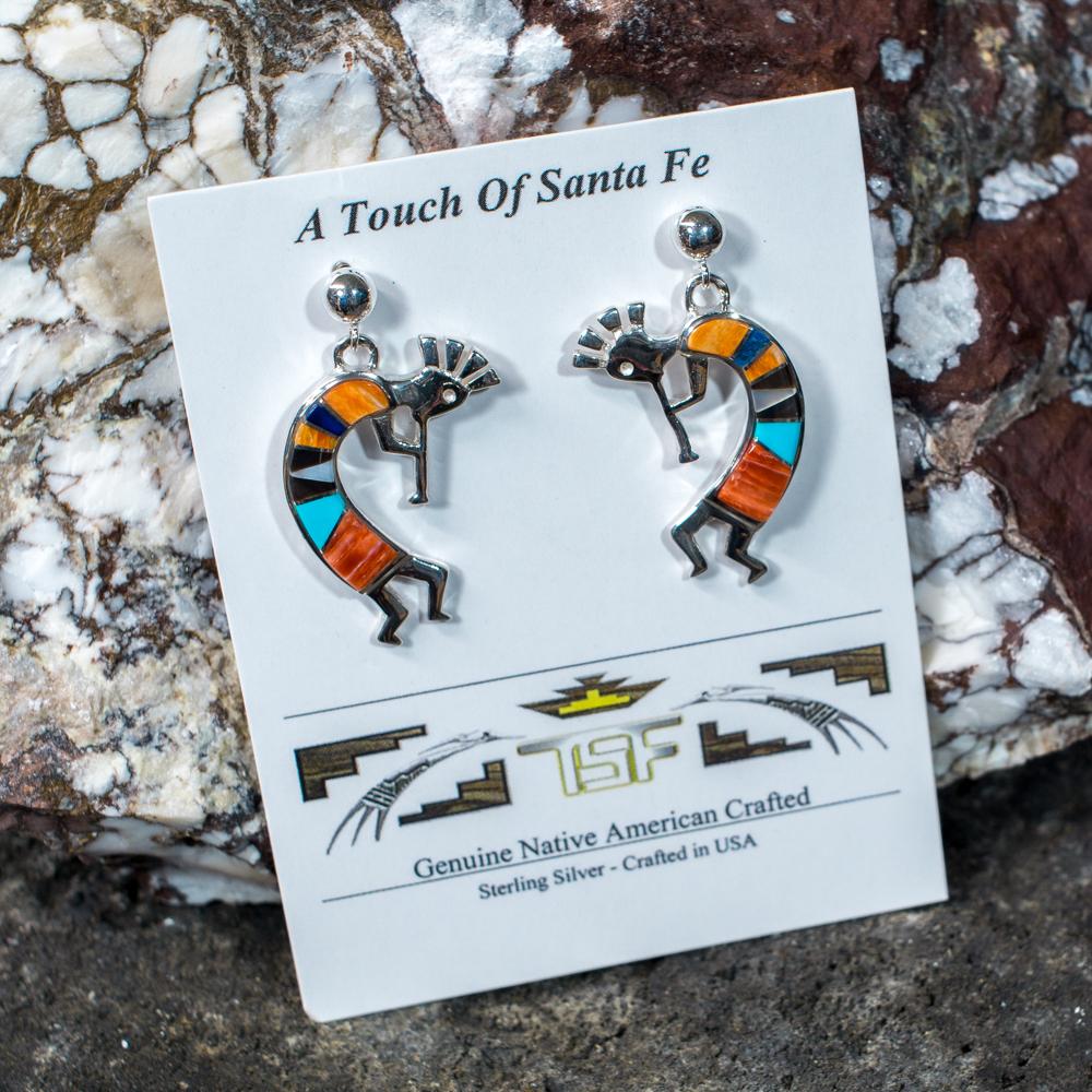 Touch of Santa Fe Multi-Stone Kokopeli Earrings JE200120