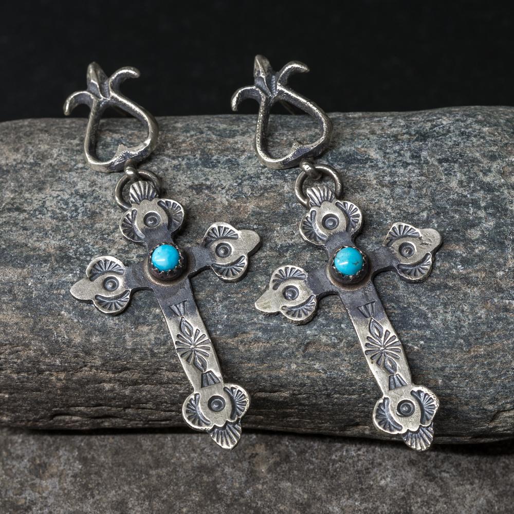 Sterling Silver Cross Turquoise Earrings SB200048