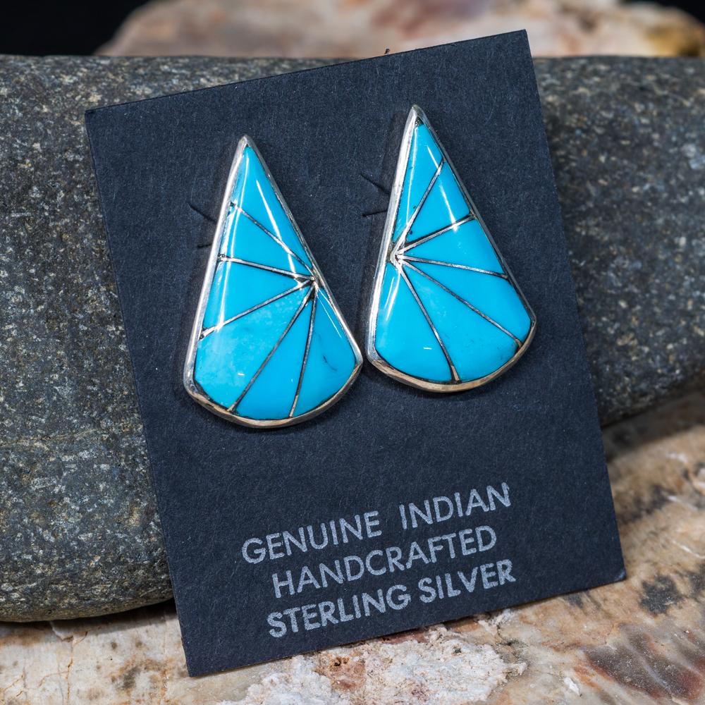 Sleeping Beauty Turquoise Teardrop Inlay Earrings SB200052