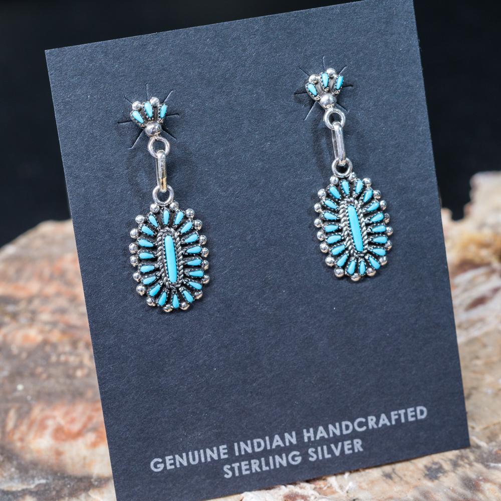 Sleeping Beauty Turquoise Petit Point Droplet Earrings SB200055