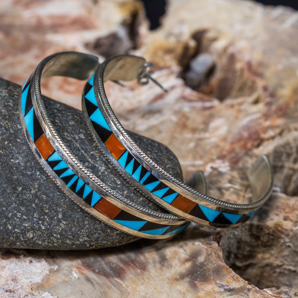 Sleeping Beauty Turquoise Inlay Hoop Earrings SB200057