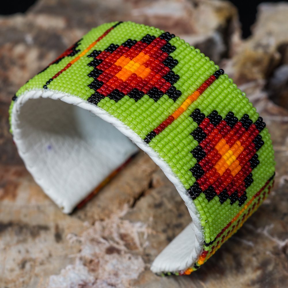 Apache Beaded Cuff Bracelet, Lime Green and Red JE200130
