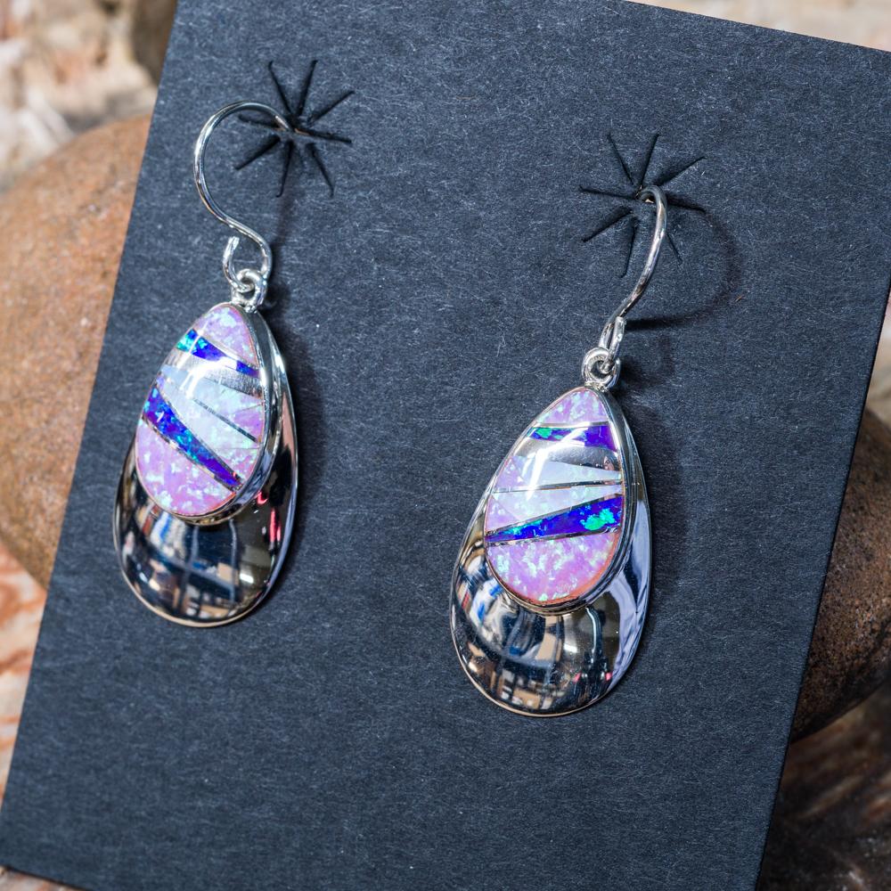 Pink Purple Opal Teardrop Earrings JE200151
