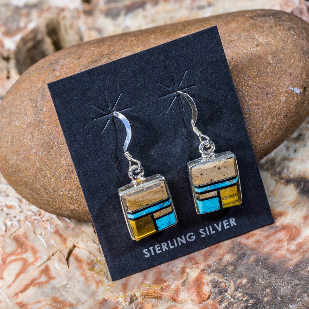 Tiger Eye and Turquoise Inlay Earrings JE200163
