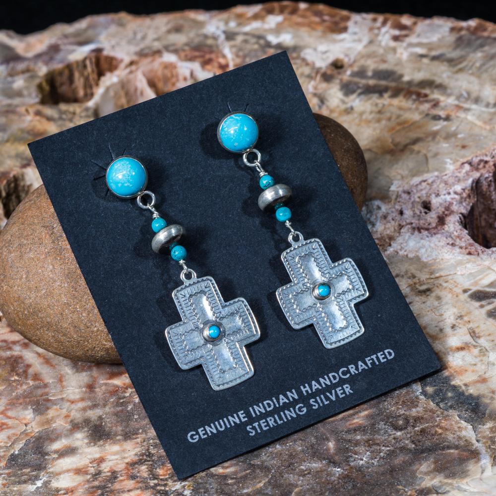 Sleeping Beauty Turquoise Stamped Cross Earrings SB200062