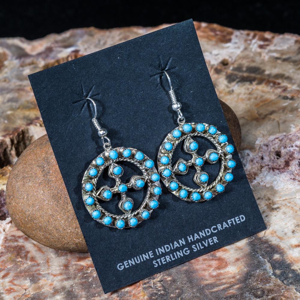 Sleeping Beauty Turquoise Wheel Cross Earrings SB200063