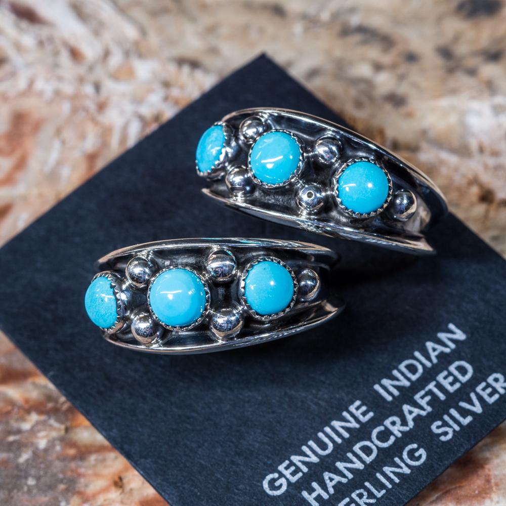Sleeping Beauty Turquoise Half Hoop Earrings SB200066