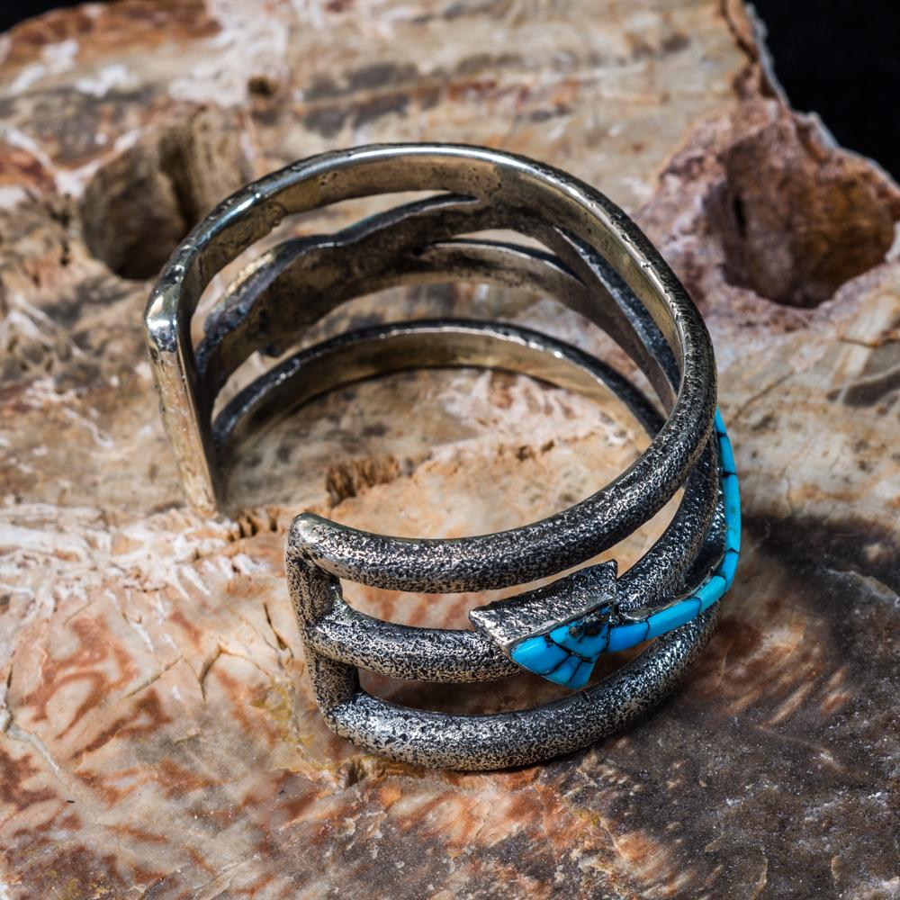 Kingman Turquoise Inlay Arrow Bracelet