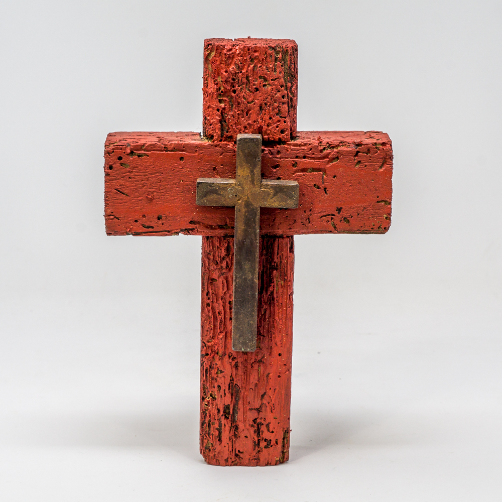 Red Wood Cross with Metal Cross SG200139