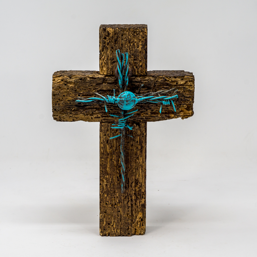 Wood Cross with Turquoise Barbed Cross SG200140
