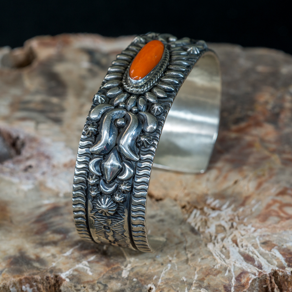 Stamped Becenti Coral Bracelet