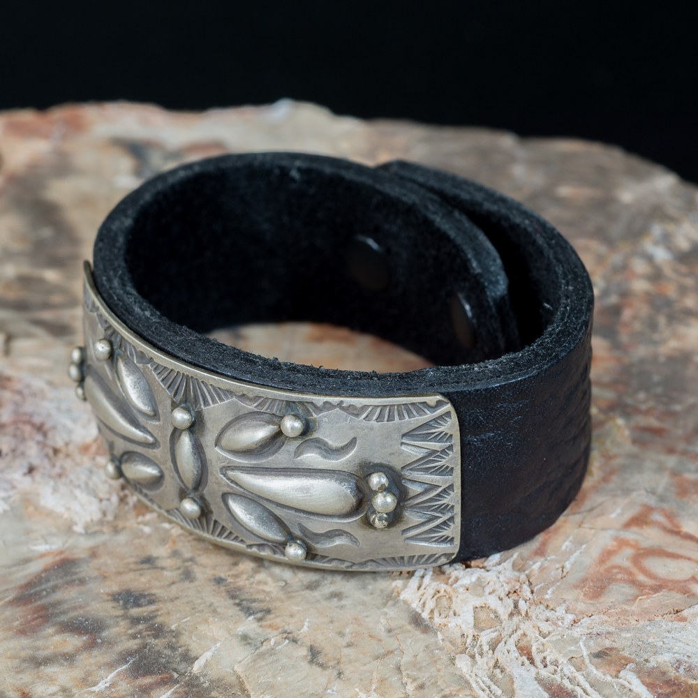 Leather Bracelet with Stamped Sterling Silver