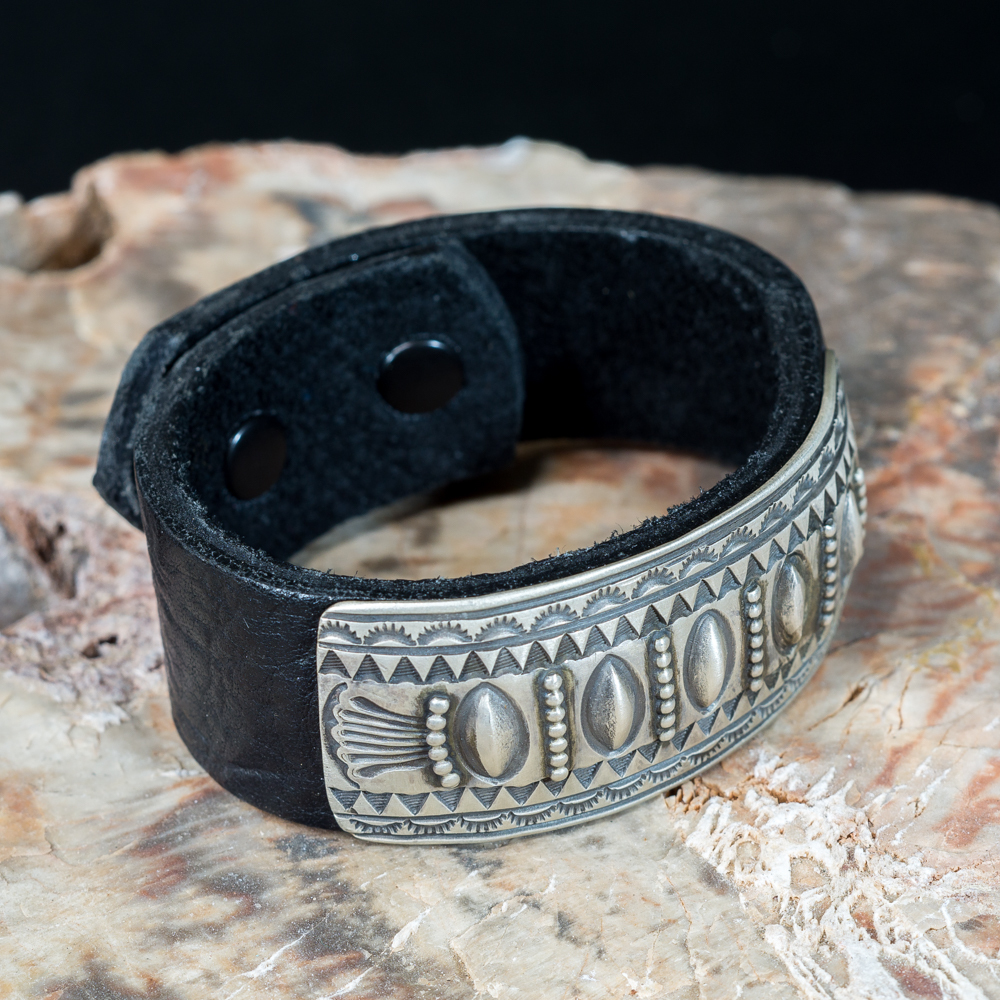 ​Leather Bracelet with Stamped Sterling Silver