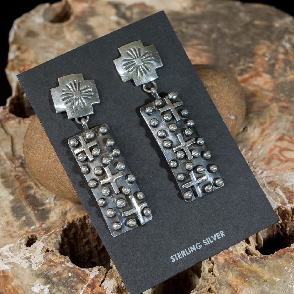 Sterling Silver Cross Applique Earrings JE200189