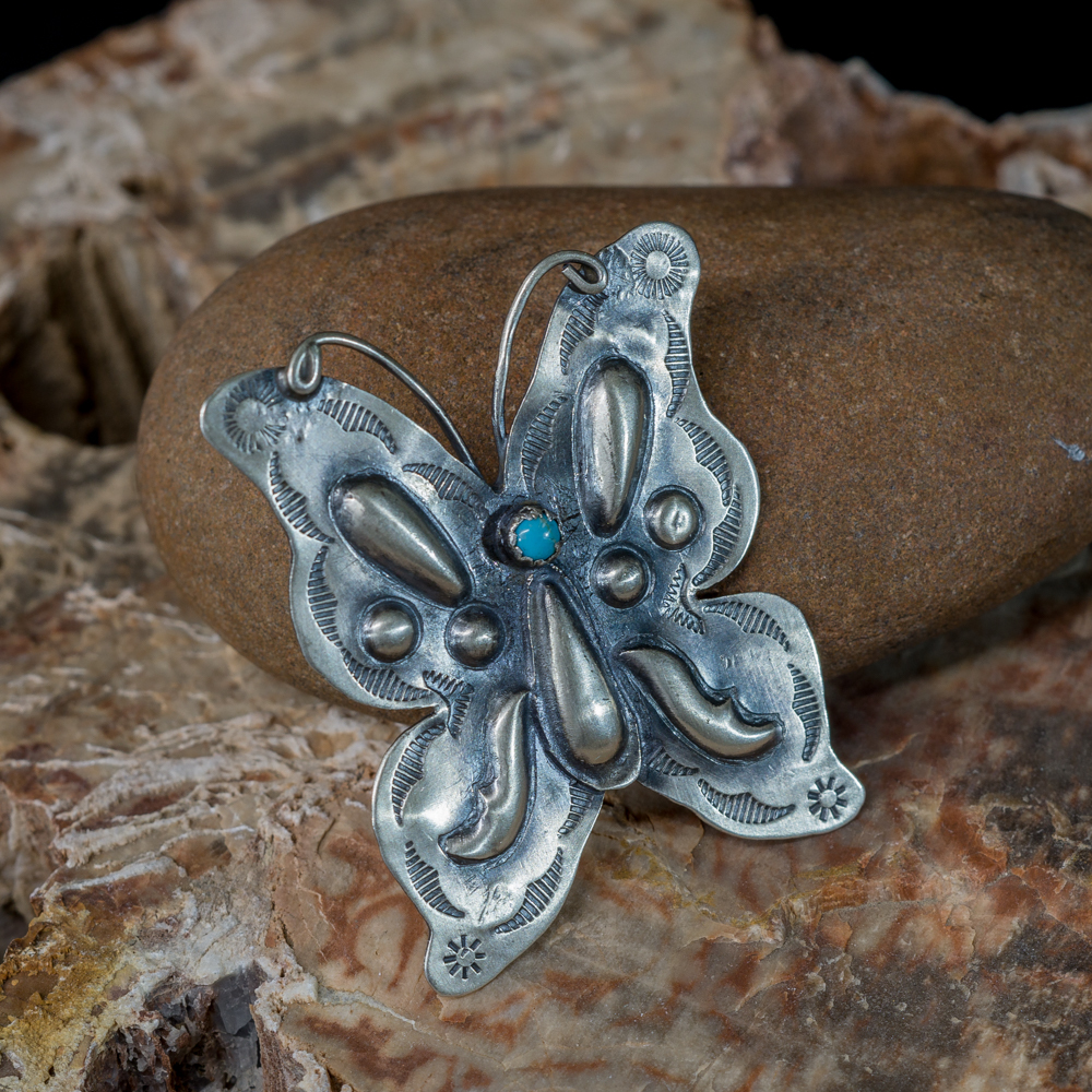 Kingman Turquoise Butterfly Pin by Tim Yazzie JE200200