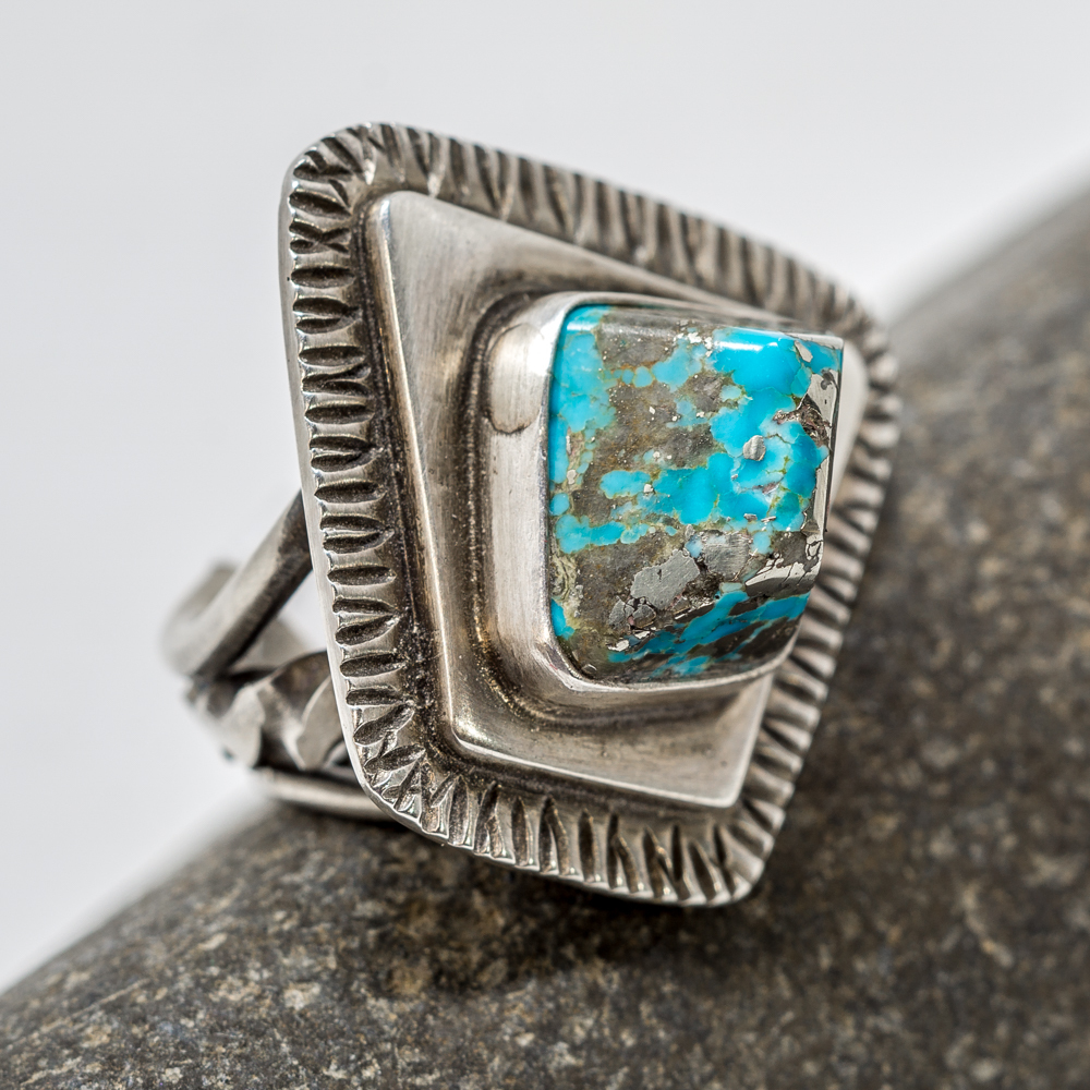 Bisbee Turquoise Sterling Silver Ring by Tommy Jackson JE200206