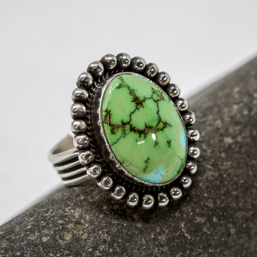 Sonoran Gold Turquoise Sterling Silver Ring by H. Piasso JE200208