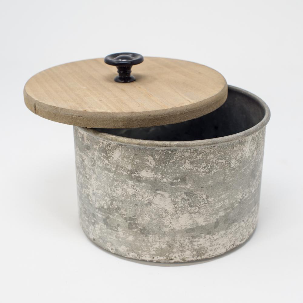 Vintage-Inspired Storage Tin, Wood Lid SG200153