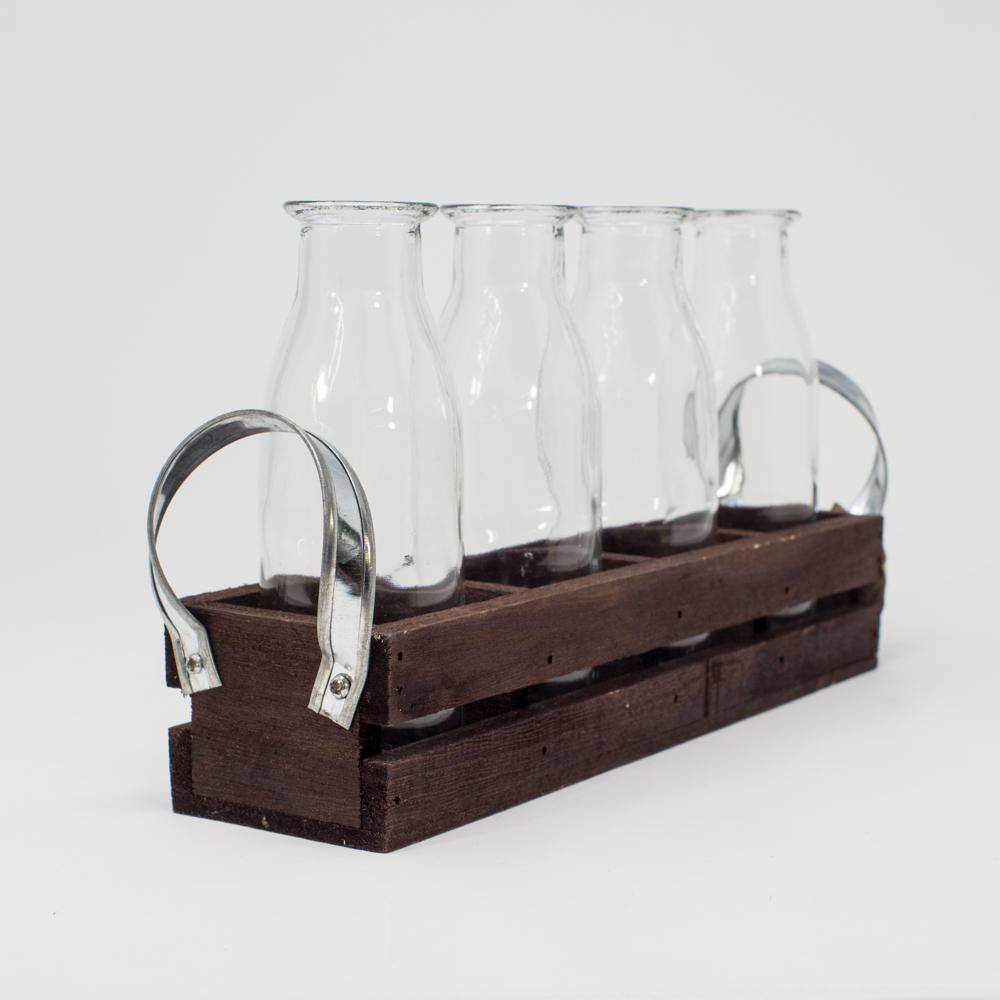 Vintage-Inspired Glass Vase & Wood Rack Set SG200160