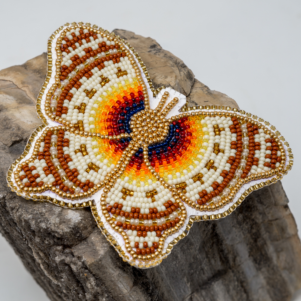Beaded Butterfly Barrette, Brown JE200221