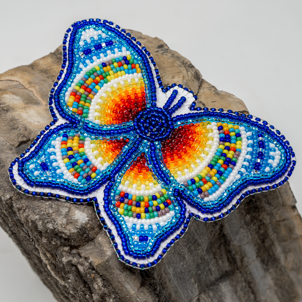 ​Beaded Butterfly Barrette, Blue JE200222
