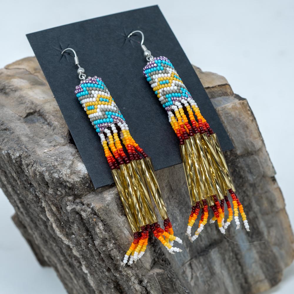 Apache Beaded Dangle Earrings JE200243