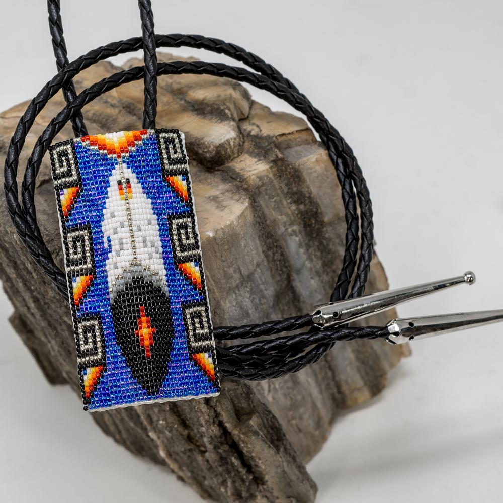 Apache Beaded Bolo Tie, Eagle Feather JE200246