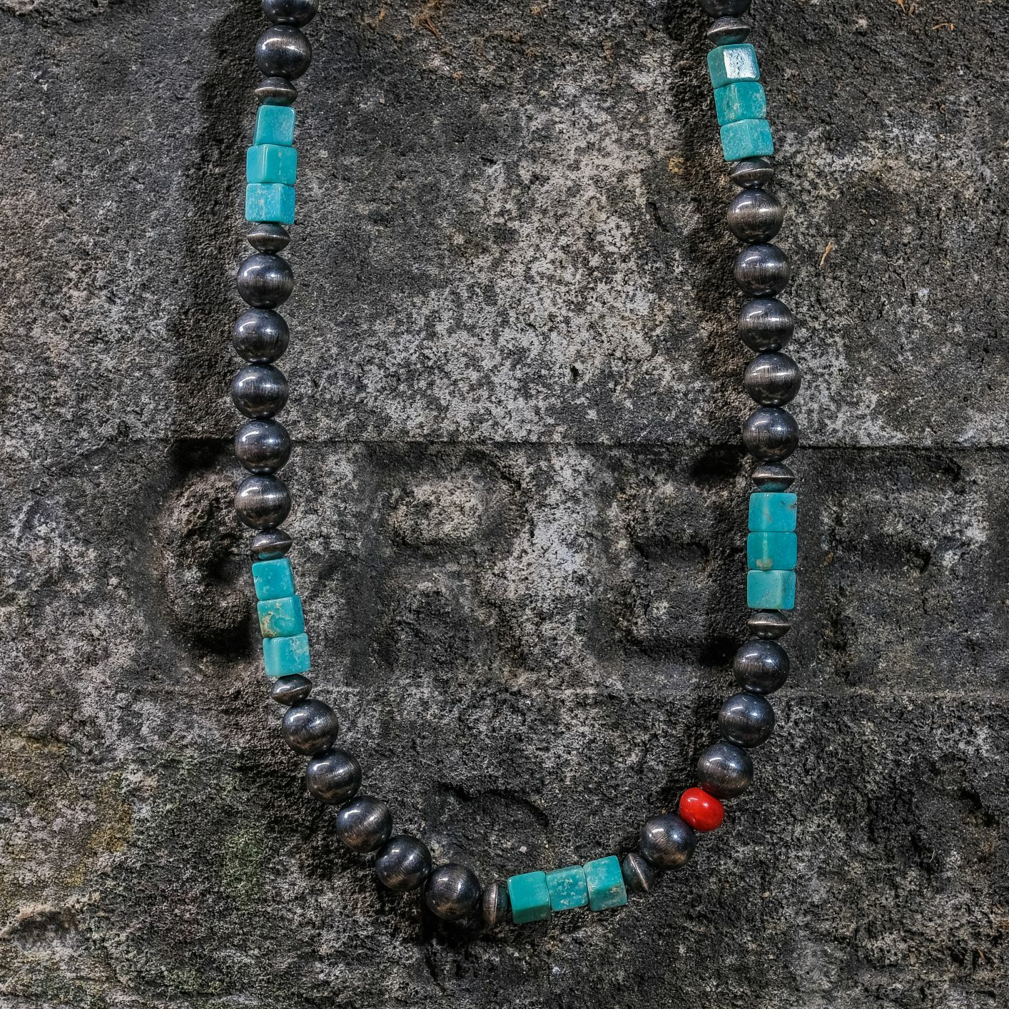 Turquoise Navajo Pearl Necklace with Coral JE200250