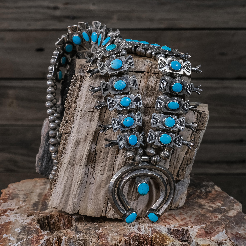 Vintage Turquoise Squash Blossom Necklace, Circa 1930 JE200256