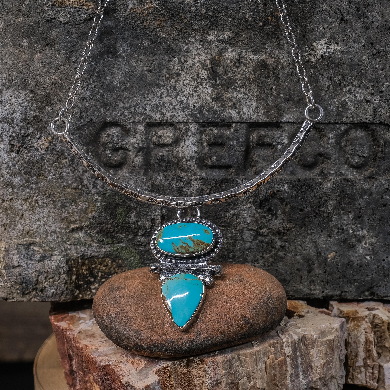 Kingman Turquoise Half-Collar Necklace by EM Teller JE200254