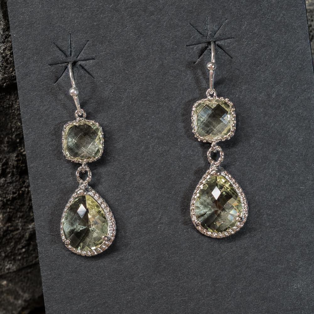 Citrine Silver Teardrop Earrings JE200259