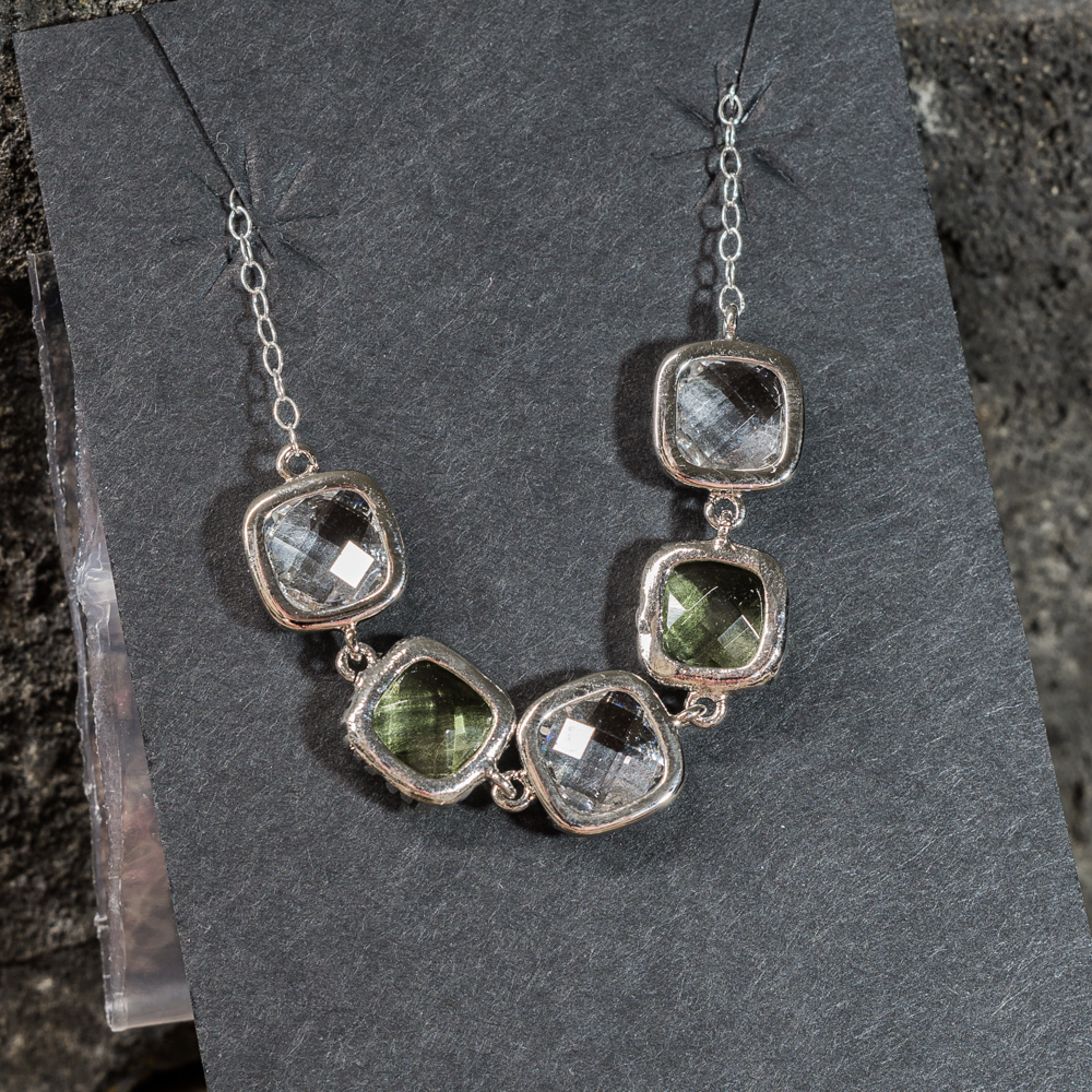 Peridot and Crystal Necklace, Sterling Silver JE200267