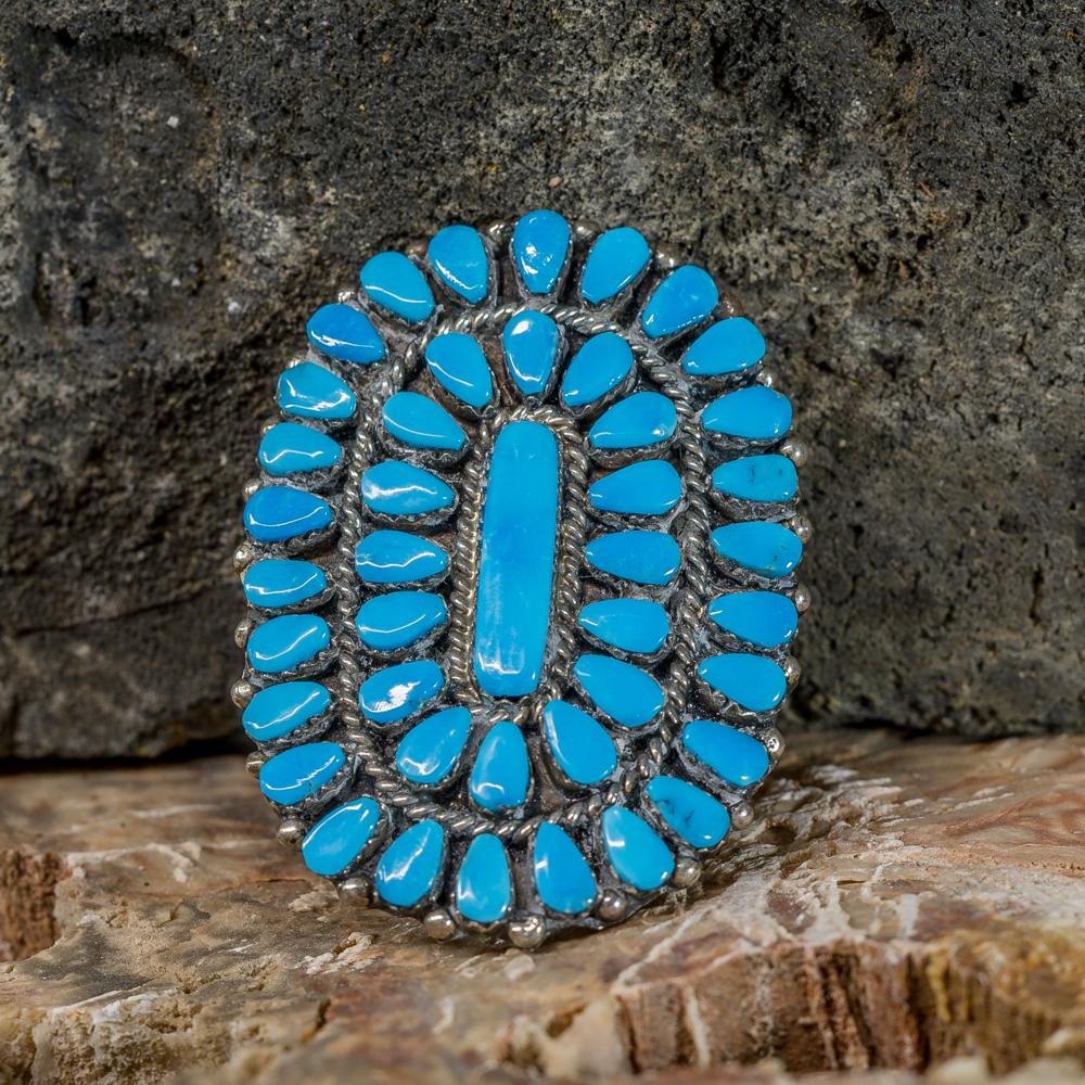 Kingman Turquoise Petit Point Ring by Vangie Tsabetsaye JE200269