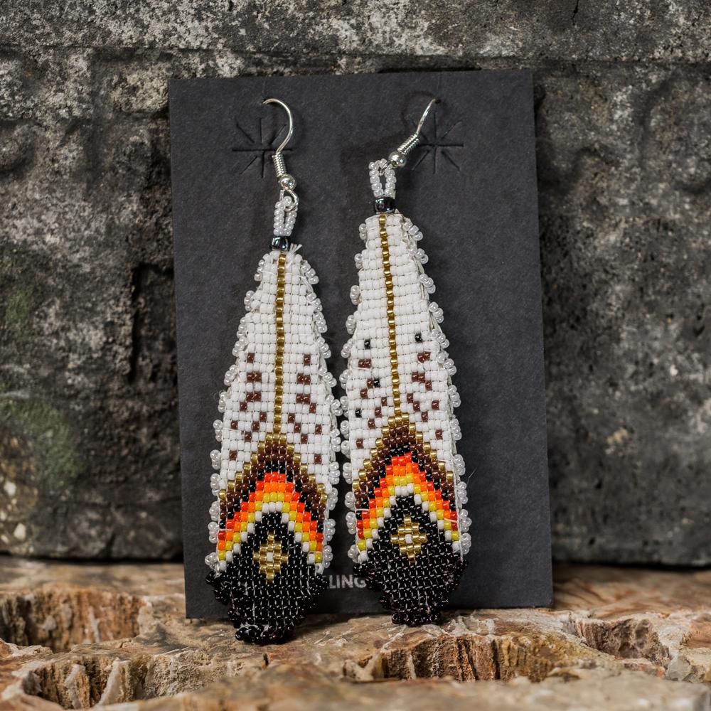 Apache Beaded Feather Earrings JE200295