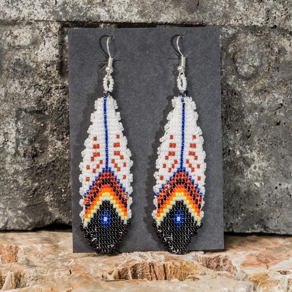 Apache Beaded Feather Earrings JE200296