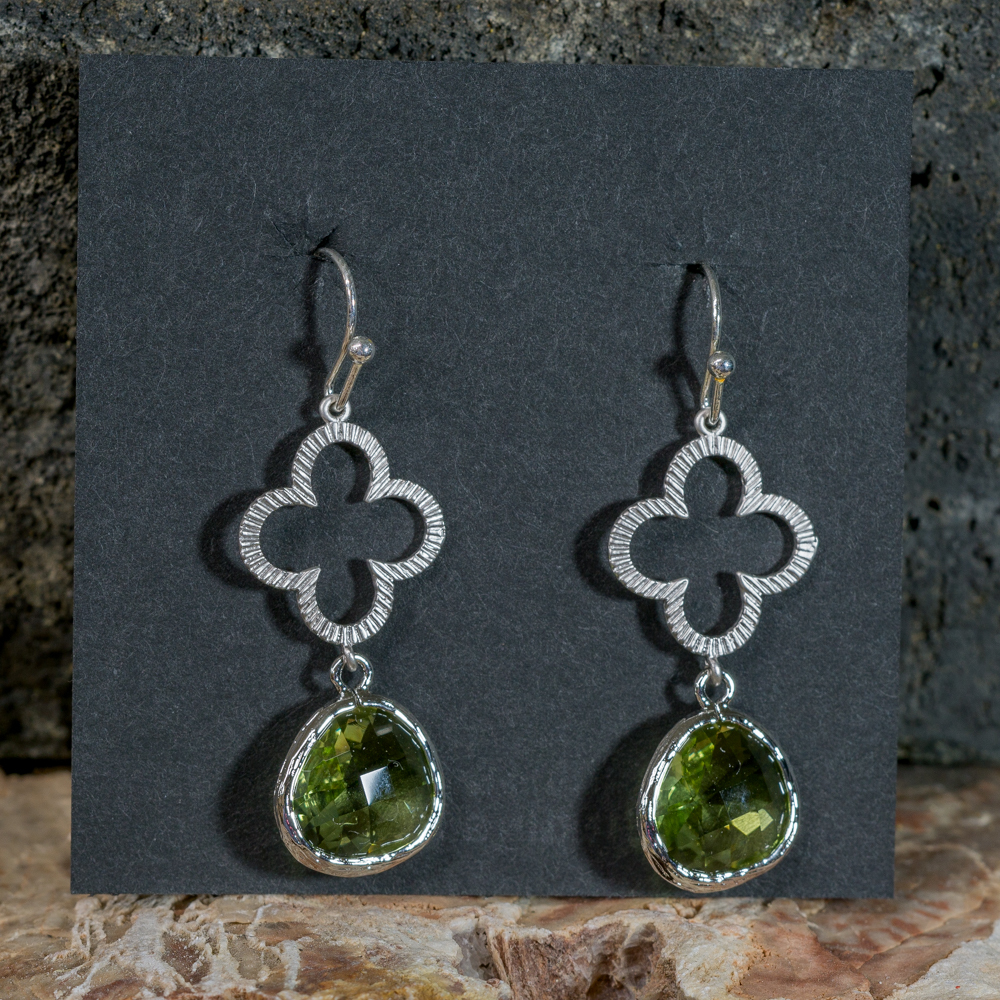 Peridot and Silver Clover Earrings JE200299