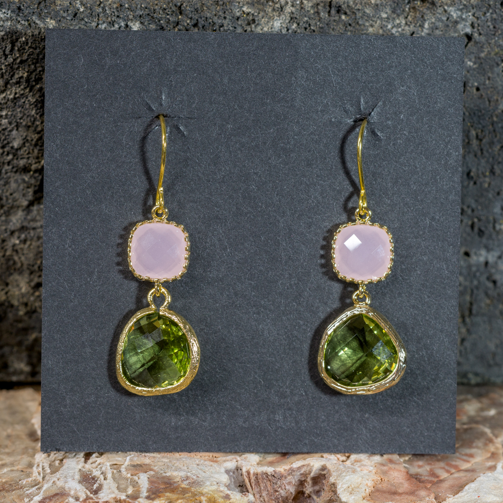 Pink Opal and Peridot Earrings with 14K Gold JE200298