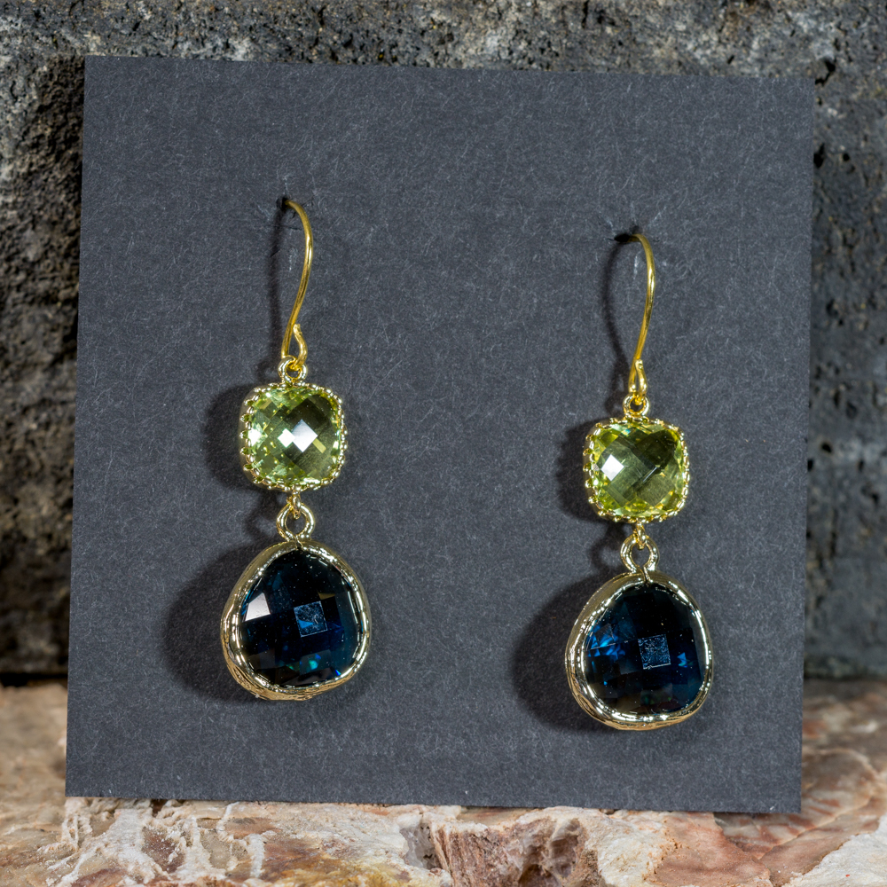 Peridot and Sapphire Earrings with 14K Gold JE200300