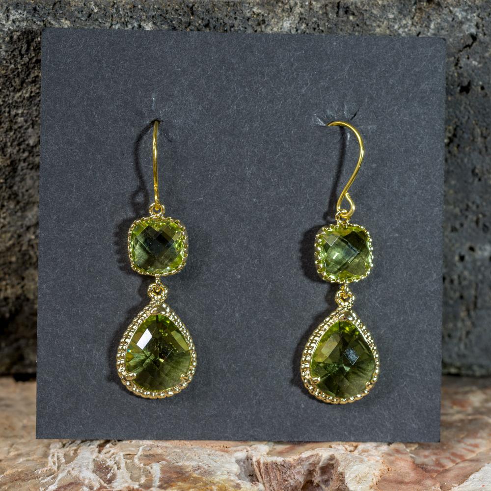 Peridot Drop Earrings, Gold-Plated JE200307