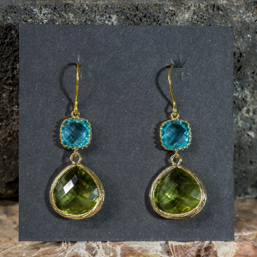 Peridot and Aquamarine Earrings, Gold-Plated JE200308