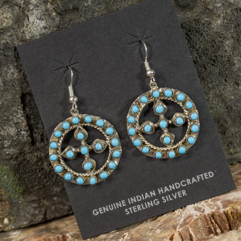 Sleeping Beauty Turquoise Wheel Cross Earrings SB200084