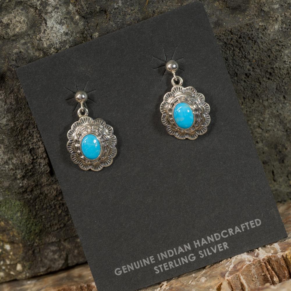 Sleeping Beauty Turquoise Stamped Earrings SB200085