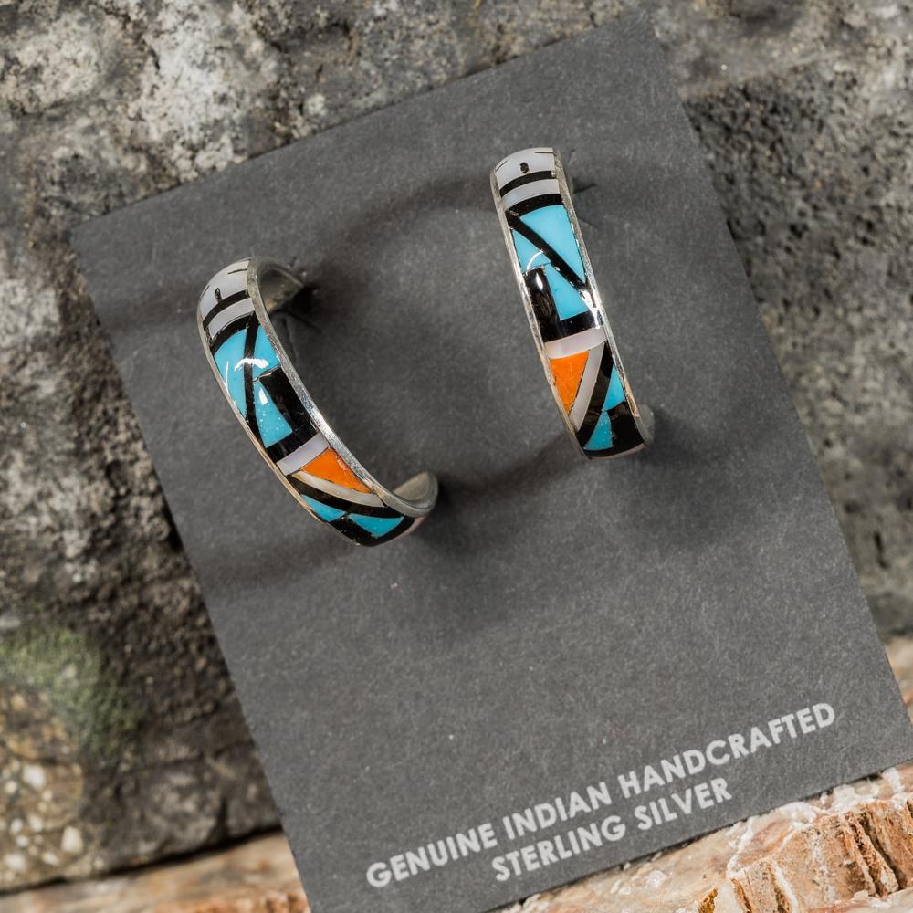 Sleeping Beauty Turquoise Inlay Hoop Earrings SB200086