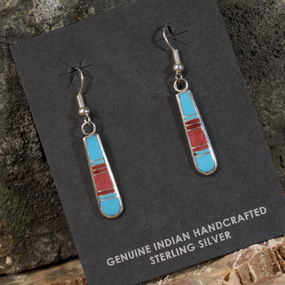 Sleeping Beauty Turquoise Inlay Earrings with Coral SB200088