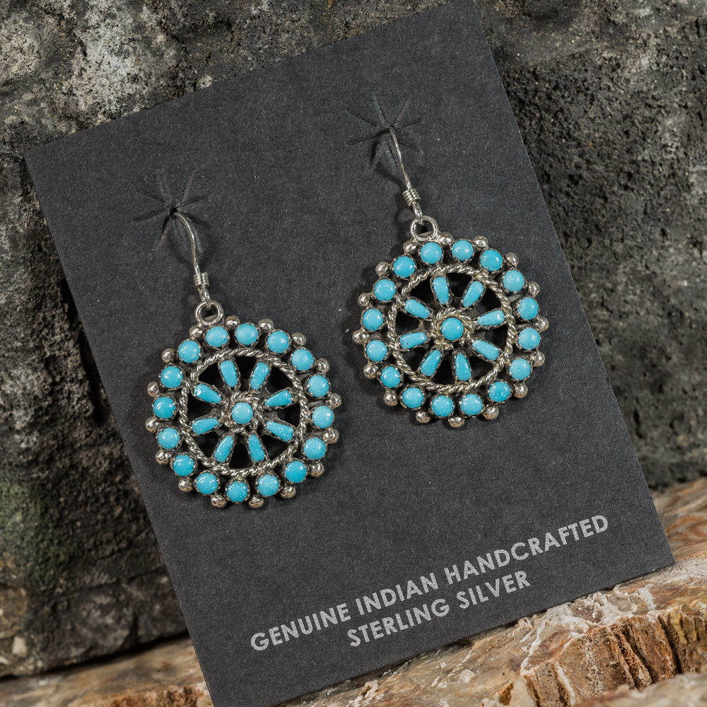 Sleeping Beauty Turquoise Petit Point Wheeled Earrings SB200090